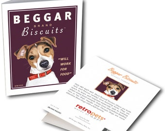 "Jack Russell Cards ""Beggar Biscuits"" 6 Small Greeting Cards by Krista Brooks"
