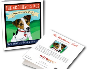 "Jack Russell Cards ""Mischievous Jack Pub"" 6 Small Greeting Cards by Krista Brooks"