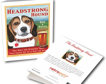 "Beagle Art ""Headstrong Hound"" 6 Small Greeting Cards by Krista Brooks"