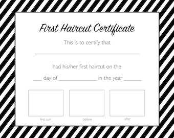 first haircut certificate instant download