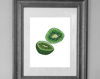 Kiwi Painting Print / Kitchen Printable / Fruit Art / Wall Art Decor / INSTANT DOWNLOAD