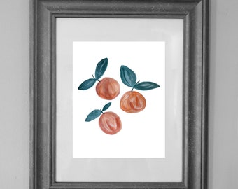 Peach Painting Print / Kitchen Printable / Fruit Art / Wall Art Decor / INSTANT DOWNLOAD