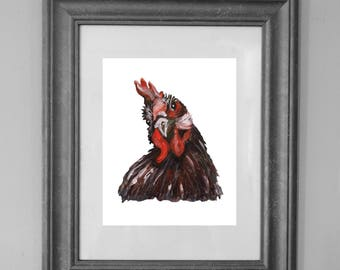 Rooster Painting Printable / Closeup / Farmhouse Style / French Country Decor / Fine Art Acrylic Painting / INSTANT DOWNLOAD