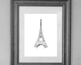 Eiffel Tower Print / Illustration / Wall Art Decor / Nursery Decor / INSTANT DOWNLOAD