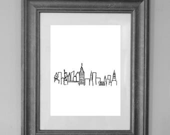 NYC illustration / Wall Art Decor / INSTANT DOWNLOAD