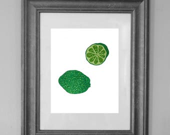 Lime Painting Print / Kitchen Printable / Fruit Art / Wall Art Decor / INSTANT DOWNLOAD
