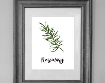 Rosemary Printable Sign / Herbs Kitchen / Rosemary Painting / Home Decor / INSTANT DOWNLOAD