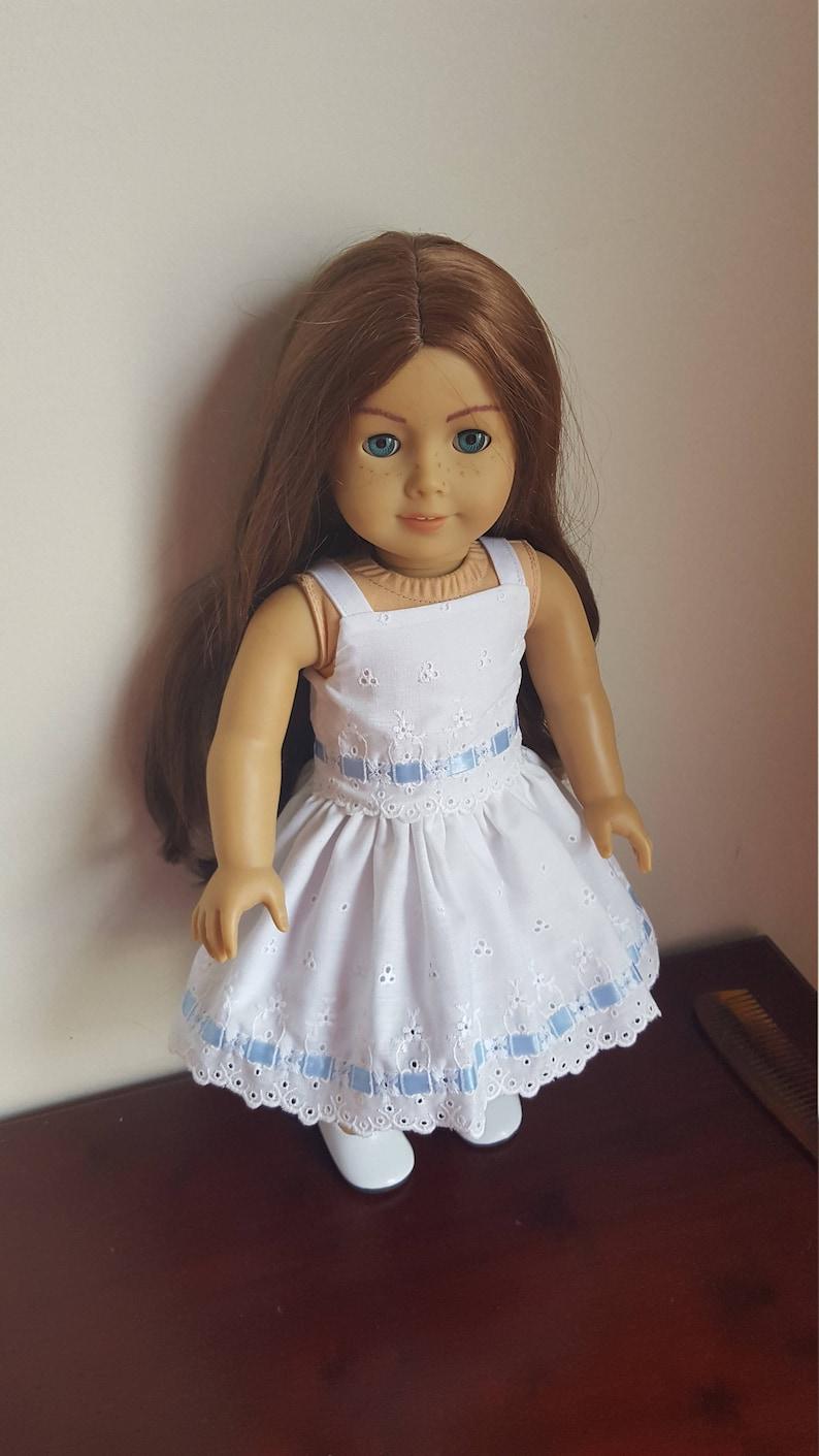 6d5c0f8257e 18 inch Doll Dress Fits American Girl White Eyelet Dress