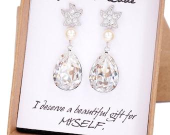 Starfish - Cubic Zirconia Starfish Earrings Swarovski Crystal Teardrop, gift for her, Bridal, Beach Wedding  Bridesmaids, silver E36