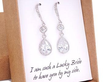 Ada - Cubic Zirconia Teardrop Earrings, gifts for her, Silver earrings, bridal jewelry, bridesmaid earrings, white weddings, simple weddings