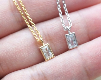 Petite Cubic Zirconia Rectangle Dangle Necklace / Minimalistic Necklace - Gold Leaf Dainty Everyday Jewelry Gold Silver Necklace Jewelry