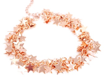 Thousands Silver Rose Gold Bracelet - Waterfall like Stars Earrings in rose gold silver stars long earrings, magical fairy earrings