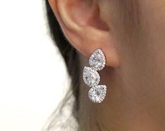 Wedding Bridesmaid Brides Gift Bridal Earrings Necklace Bracelet Jewelry Set Clear White Cubic Zirconia Teardrop Ear Stud E321 B85 N221