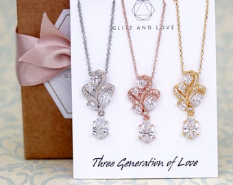 Three Generation of Love | Rose Gold Silver Floral Cubic Zirconia Necklace | Wedding Bridesmaid Gift BridalNecklace Jewelry  N222