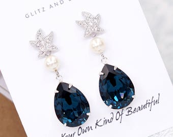 Starfish - Cubic Zirconia Starfish Montana Blue Swarovski Crystal Teardrop Earrings, gift for her, Bridal Beach Wedding  Bridesmaids E36