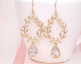 Laurel Wreath Earrings. Clear Glass Teardrop Earrings, Gold Laurel Wreath Earrings. Wedding Bridal, Bridesmaid Gift, Christmas Wife E296