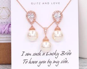 Rose Gold Perlenohrringe, Swarovski Perle Tropfen, Hochzeit Schmuck halskettengeschenke, Brautjungfer Ohrringe, Charlotte E262 N81
