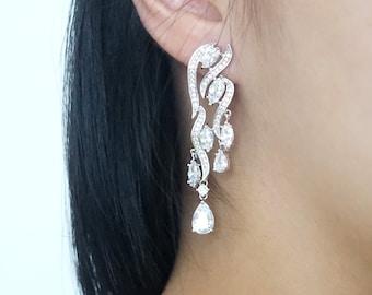 Blattsilber Hochzeit Brautjungfer Geschenk Braut Ohrringe Kette Armband Schmuck-Set klaren weißen Zirkonia Ohrringe E329 B104