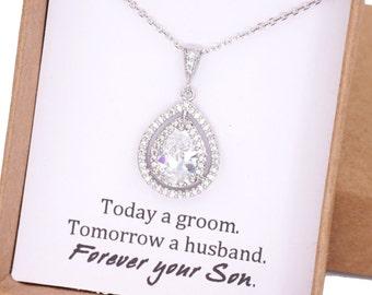 Sondra - Deluxe Cubic Zirconia  Teardrop necklace, Halo style crystal necklace, Silver brides bridesmaid necklace, brides wedding jewelry