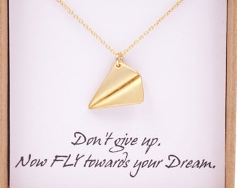 Gold Paper Airplane necklace - simple gold necklace with paper airplane, Childhood, Best friends, sister, cousin