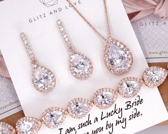 8e416b306 Rose Gold Wedding Bridesmaid Gift Bridal Earrings Necklace Bracelet Jewelry  Set Cubic Zirconia Teardrop Ear Studs personalised E306 B85 N221