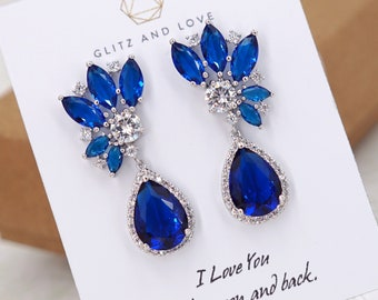 63134043d Navy Blue Art Deco Earrings Old Hollywood 1920s Wedding Bride Bridesmaid  Gift Bridal Jewelry Set White Cubic Zirconia Teardrop E337 B88