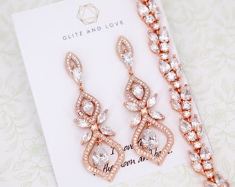 3580e6687 Rose Gold Art Deco Earrings Bracelet Wedding Bride Bridesmaid Gift Bridal  Jewelry Set Clear White Cubic Zirconia Teardrop E340 B88