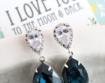 Sandra- Montana Blue Swarovski Crystal Teardrop Cubic Zirconia Teardrop Earrings, Bridesmaid Earrings, Bridal Jewelry, Wedding Jewelry