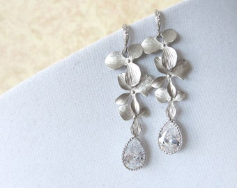 Estelle - Silver Orchid and Cubic Zirconia Teardrop earrings, Garden wedding earrings, Bridesmaid jewelry, Orchid, Gifts for her, silver