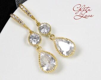 Ada - Cubic Zirconia Teardrop Earrings, gifts for her, gold earrings, bridal jewelry, bridesmaid earrings, champagne weddings, gold weddings