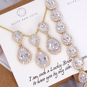 Rose Gold Wedding Bridesmaid Gift Bridal Earrings Necklace Bracelet Jewelry Set Clear White Cubic Zirconia Teardrop Ear Studs E409 B118