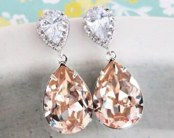 Sandra - Swarovski Light Silk Crystal Teardrop Cubic Zirconia Teardrop Earrings, Bridesmaid Earrings, Bridal Jewelry, Wedding Jewelry