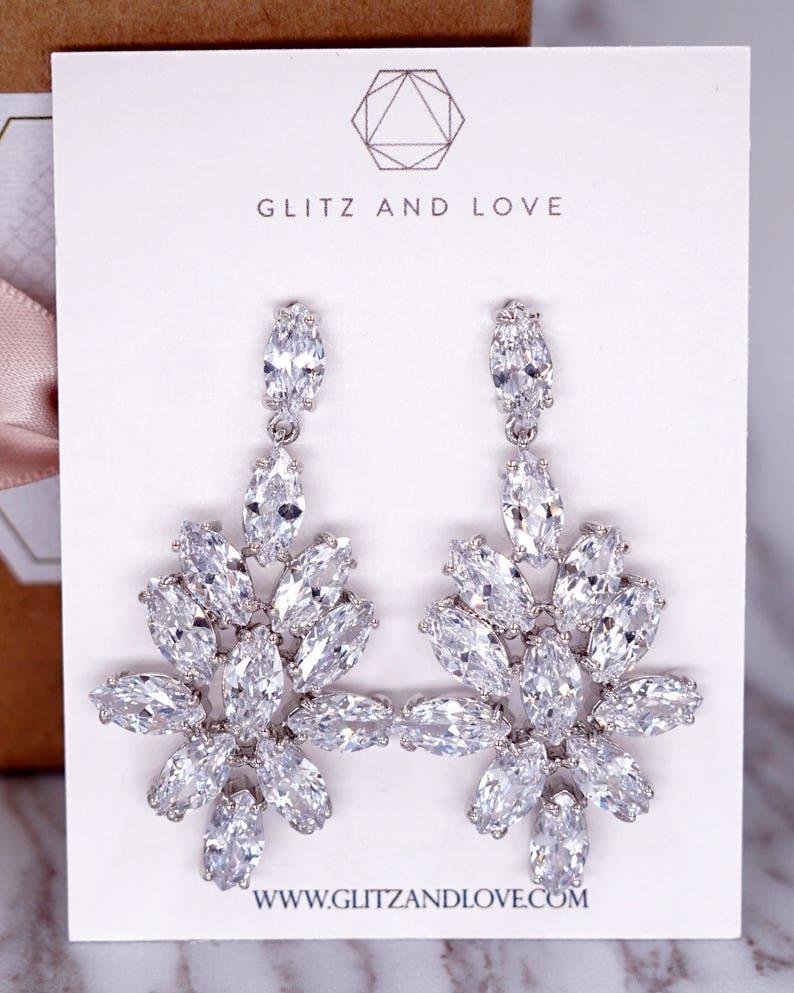Silver Wedding Bridesmaid Gift Bridal Earrings Bracelet Jewelry Set Clear White Cubic Zirconia Teardrop Ear Stud Earrings E313 N230 B88