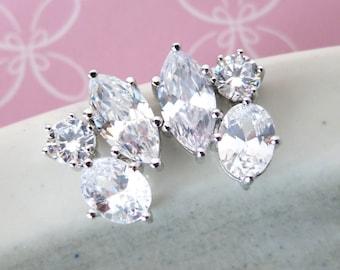 Radella - Wedding Bridesmaid Gift Bridal Earrings Bridesmaid Jewelry Clear White luxe Cubic Zirconia Teardrop Ear Post Stud Earrings