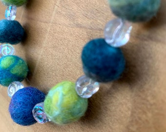 Springtime Color Felted Wool Bead and Glass Spirals Necklace