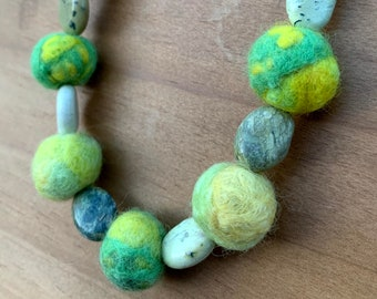 Yellow and Pale Green Felted Wool Bead Necklace with Jasper