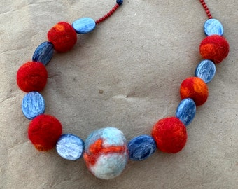 Red and Orange Felted Wool Bead Necklace with Blue Oval Stone Separators