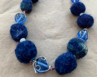 Upcycled Navy Blue Felted Wool Bead and Wrapped Glass Necklace