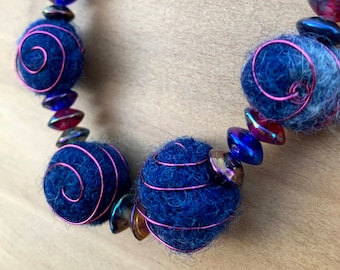Upcycled Navy Blue Wire Wrapped Wool Bead Necklace