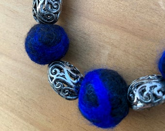 Electric Blue and Black Felted Wool Bead Necklace with Silvertone Scroll Beads
