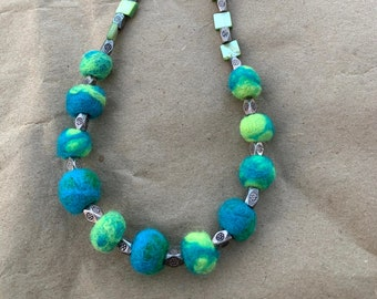 Turquoise and Green Tiny Felted Wool Bead Necklace with Square Shell Beads