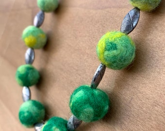 Green and Yellow Felted Wool Bead Necklace