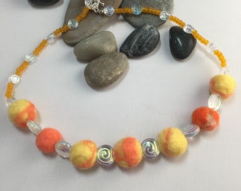 Yellow and Orange Felted Wool Bead and Glass Swirl Necklace