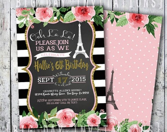Paris Birthday Invitation Eiffel Tower Invite Printable Chalkboard French Party Sweet 16 Sixteen