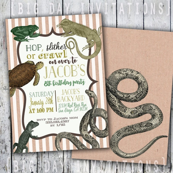 Vintage Reptile Animal Party Invitations Printable Invitation