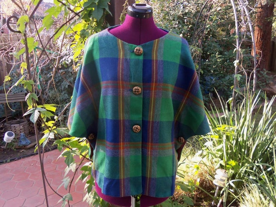 Tartan Wool Cape Wool Cape Plaid Wool Cape Vintage