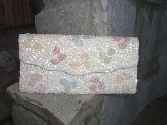 Beaded Purse Beaded Clutch Envelope Clutch 1950s C