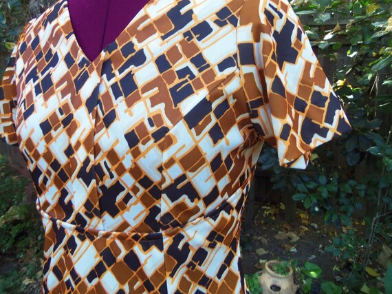 1970s Maxi Dress Abstract Op Art Maxi Dress 70s Ma