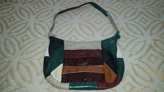Patchwork Purse Patchwork Hobo Purse Leather Patc… - image 3