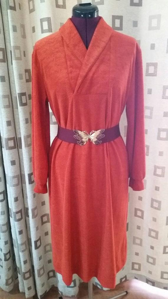 1970s Terry Cloth Dress 70s Terry Cloth Dress Burn